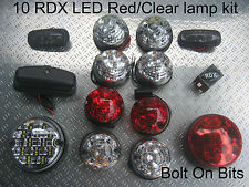 RDX LED RED/CLEAR 10 Lamps Side Repeater NumLmp Defender 1998 to 2016 Td5/Tdci D