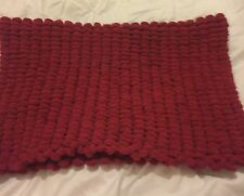Burgundy red Hand knitted Rico pom pom blanket  approx size 22 inch x 34 inch