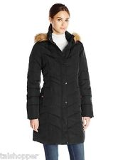 NWT Tommy Hilfiger Down Quilted Long Coat Parka Faux Fur Hood Black Large $320 L