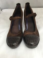 NWOT INDIGO BY CLARKS Mary Jane Pumps Size 8 M Brown Leather Suede