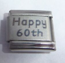 HAPPY 60th Italian Charm Birthday Anniversary fits 9mm Classic Bracelets Age 60