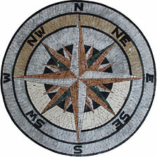 Nautical Compass Floor Wall Tabletop Marble Mosaic MD1796
