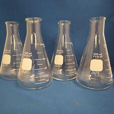 Qty 4 Pyrex Erlenmeyer Flasks  500mL  #4980