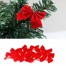 12PCS Packing Chrismas Craft Red Bowknots Christmas Decoration For Xmas Tree Hot