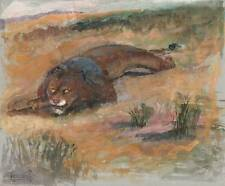 IMPRESSIONIST STALKING LION Gouache Painting A H BERENS c1910 Possibly Africa