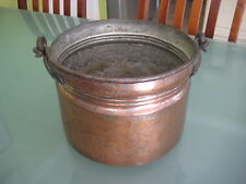 "19th Century Hand Forged Copper Cauldron Pot W/ Iron Handle, 7 3/4"" Tall"