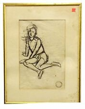 "Maurice Sterne, Original Pencil Sketch,""Bali Boy Seated"" Bears Artist's Stamp"
