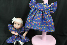 """GOING OUT OF BUSINESS SALE--DRESS FOR 5-1/2""""--6"""" OOAK DOLL Dk BLU W/TINY FLOWERS"""