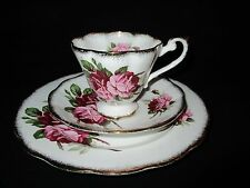 ROYAL STANDARD BONE CHINA TEA CUP & SAUCER TRIO SET PINK ROSE BLOOMS ENGLAND