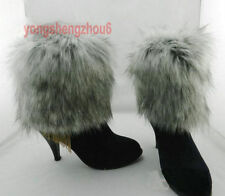 Gray Style Boot Cuff Fluffy Soft Furry Faux Fur Leg Warmers Boot Toppers 20cm