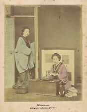 JAPAN Mousmees Sitting Over a Charcoal Firebox-  Coloured Antique Photograph c18