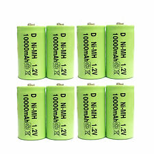 8 x D 10000mAh 1.2V Ni-MH Rechargeable Battery Toy Radio Green US Stock