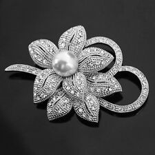 Vintage Rhinestone Crystal Wedding Bridal Bouquet Flower Pearl Brooch Pin HOT