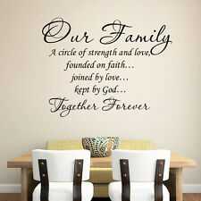 Our Family a Circle of Strength and Love Wall Sticker Decal Home Decor Nice