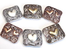 6 - 2 HOLE SLIDER BEADS COPPER SILVER BRASS FILIGREE FLOURISH HEARTS VALENTINE