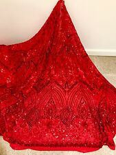 """RED STRETCH MESH W/ SEQUINS EMBROIDERY LACE FABRIC 52"""" WIDE 1 YARD"""