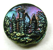 Antique Black Glass Button Castle in Forest w/ Carnival Luster - 5/8""