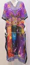 PLUS SIZE FUNKY ABSTRACT MULTI ANIMAL PRINT KAFTAN DRESS PURPLE 26 28 30 32 34