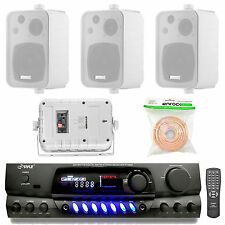 """White 4"""" In/Out Door 200W Speakers, 50 Feet Speaker Wire, AM FM Pyle Receiver"""