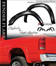 BLK POCKET BOLT STYLE FENDER FLARES KIT WHEEL COVER 4PC 2009-2016 DODGE RAM 1500