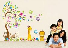 NEW-Wall Decal Forest Lion Giraffe Squirrel Owl Wall Stickers for Kids Bedroom