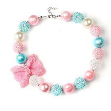 Candy Beads Pink Rhinestone Bow Bubblegum Necklace for Kids Girl Birthday Gift