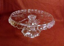 Elegant Clear Crystal Cake Plate Stand Draped Scalloped Edge Fan & Stars Pattern