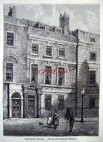 Antique Old London Engraved Print c1878 - 'Dryden's House, (Soho)'