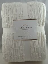 POTTERY BARN RUCHED VOILE DUVET COVER WHITE FULL QUEEN BRAND NEW IN PACKAGE