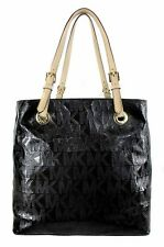 MICHAEL  KORS JET SET GRAB Black MK Signature Patent Leather Tote  Bag Msrp $248