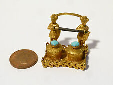Antique Miniature Dolls House Gilt Figural Inkwell & Pen Holder Turquoise Lids