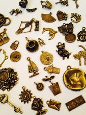 20 Mixed Vintage Bronze Charms heart Bird Clock Steampunk Jewellery Great Mix UK