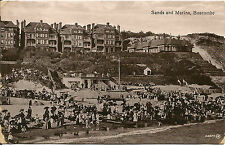 Sands and Marina, Boscombe Valentine's Postcard 1914 Holidaymakers on Beach