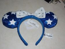 Disney Parks Blue & White Star Minnie Mouse Sequin Ear Hat Headband with Bow New