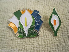 Easter Lily Badge 2 Pc Pin Set Ireland Tri/Color Starry Flag & Traditional Lily