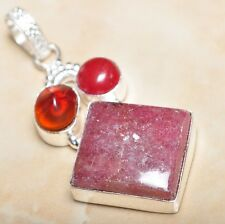 "Handmade Cherry Ruby Natural Gemstone 925 Sterling Silver Pendant 2.25"" #P08703"