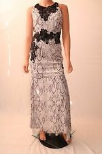 Haute Hippie White Snake Print Black Lace Lined Long Evening Dress