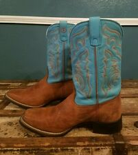 Tony Lama Womens Rojo Bridle Cowboy Boots RR2101L size 8 B Turquoise teal brown