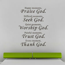 Removable Bible Lettering Quotes Praise God Wall Art Stickers Decor Home Decals