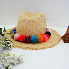 Women's woven boho bohemian straw fedora hat summer hat with coloful pom poms