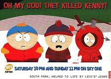 "TV POSTER~South Park ""They Killed Kenny"" 1997 Sky One Levi's UK Quad 30x40""~NOS"