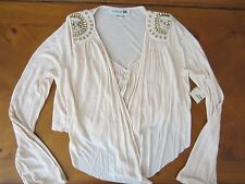 WOMENS FOREVER 21 LIGHT PINK PEACH JEWELED LONG SLEEVE COVER UP TOP SMALL NWT