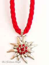 German Bavarian Women's Oktoberfest Jewelry - Red Swarovski Edelweiss Necklace