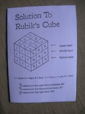 Solution to Rubik's Cube Easy to Follow Instrucions on folded A4 page FREEPOST
