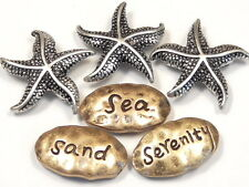 "6 - 2 HOLE SLIDER BEADS ""SEA"" ""SAND"" ""SERENITY"" STARFISH SILVER BRASS HAMMERED"