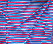 "Silk BROCADE Fabric SKY BLUE & RED STRIPE 10""x14"" remnant"