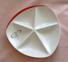 Carlton Ware ORBIT RETRO FIVE SECTION DISH .Red & Ivory. Atomic design c.1950's.