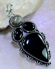 "CAPTIVATING GENUINE HUGE BLACK ONYX & LABRADORITE 925 SILVER PENDANT 3"" 22 GRAMS"