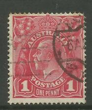 AUSTRALIA KGV KING GEORGE V One Penny Red 1d Single Watermark Used (No 33)