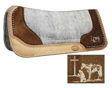 """32""""X31"""" Felt Bottom Saddle Pad w/ Genuine Cowhide & Laser Etched Praying cowboy"""